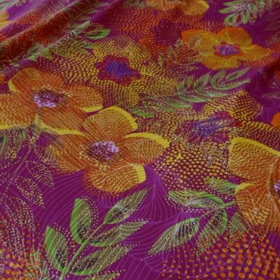 Lycra framboise motif fleurs pointillisme 1