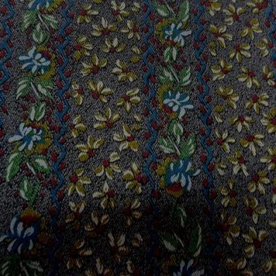 Lycra imprime faux tissage diagonal fleuri 1