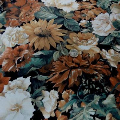 Lycra imprime fleurs ton de terre 2
