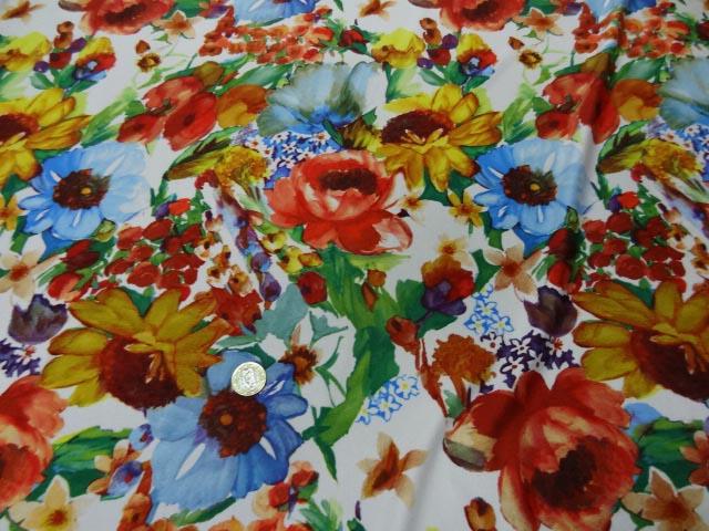 Lycra imprime fleurs vives 2