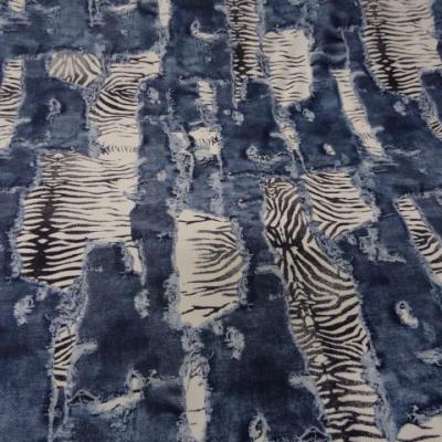 Lycra imprimé jean dévoré zèbre 5