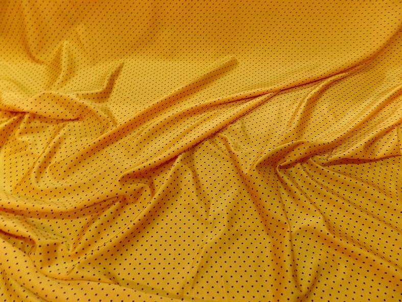 Lycra jaune bouton d or pois noir fin