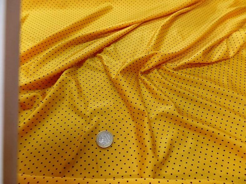 Lycra jaune bouton d or pois noir fin 6