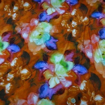 Lycra marron tanne fleurs floutees 1
