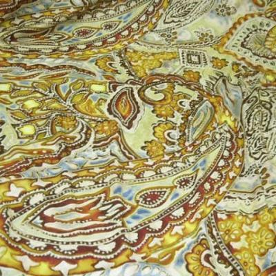 Lycra motif cachemire ocre jaune 1