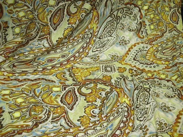 Lycra motif cachemire ocre jaune 2