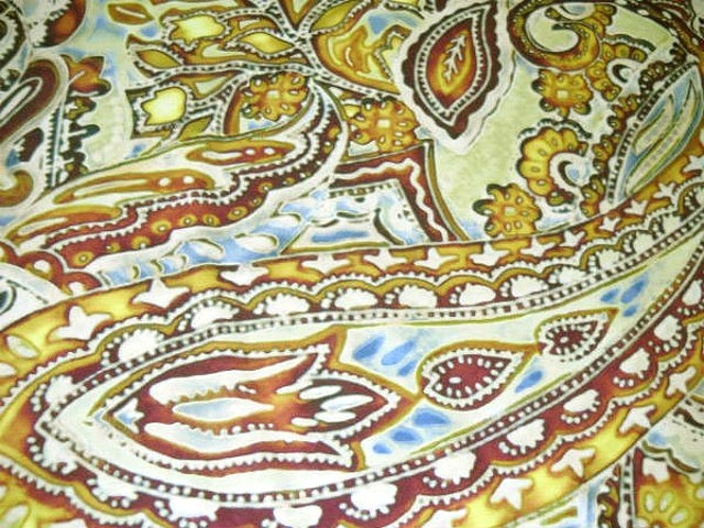 Lycra motif cachemire ocre jaune 3