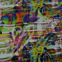 Lycra motifs superposés et coloris acidulés