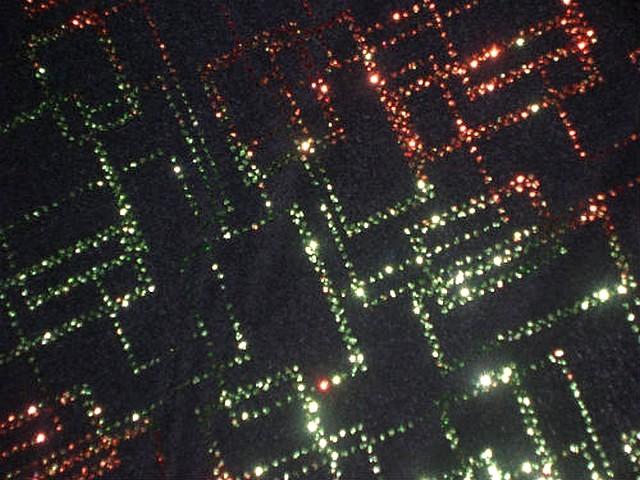Lycra paillettes matrice orange-vert 1