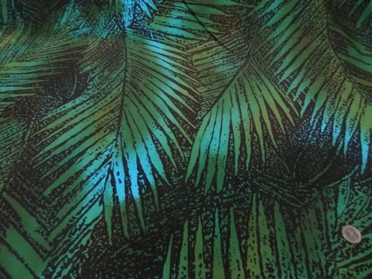 Lycra maillot de bain marron feuillage vert-turquoise 1