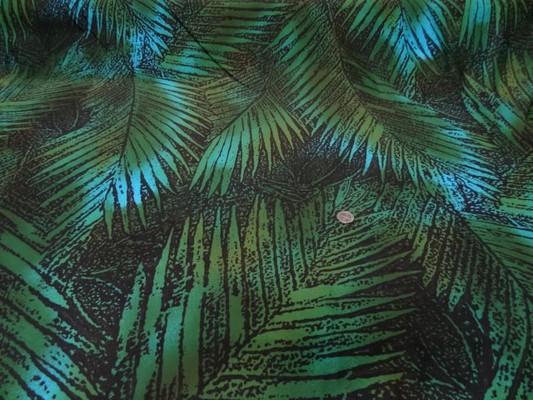 Lycra maillot de bain marron feuillage vert-turquoise 2