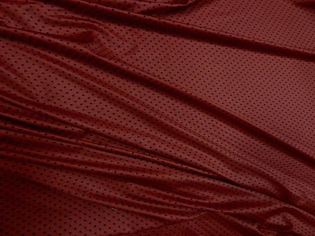 Lycra rouge flamenco a pois velours bleu nuit 3