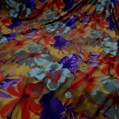 Lycra safran motif hibiscus violet orange 3