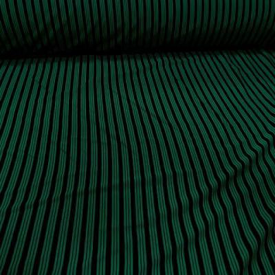 Lycra vert emeraude rayures et lignes noires 1