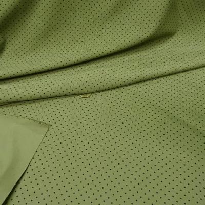 Lycra vert tilleul pois noirs fins 3