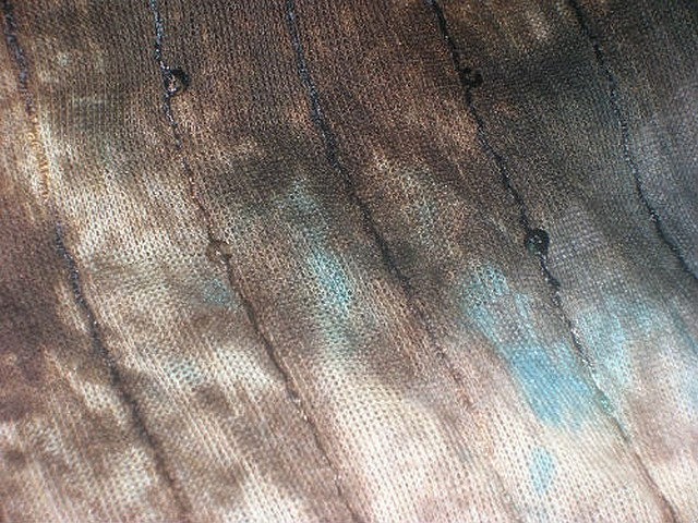 Maille coton marbree marron bleu a sequins 1