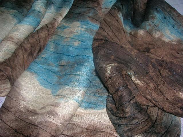 Maille coton marbree marron bleu a sequins 4