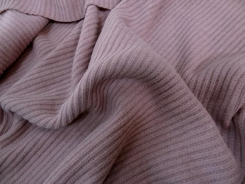 Maille jersey laine melangee rose poudre 1