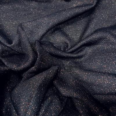 Maille lainage bleu encre avec fil lurex cuivre 2