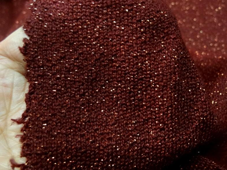 Maille lainage bordeaux avec fil lurex cuivre 4