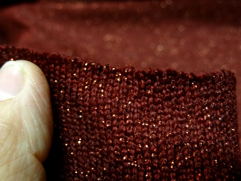 Maille lainage bordeaux avec fil lurex cuivre 5