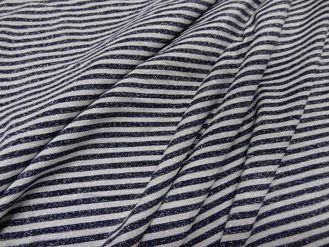 Maille lycra lurex metal rayures marinière blanc et noir 1