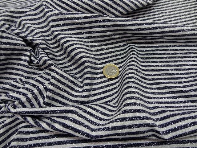Maille lycra lurex metal rayures marinière blanc et noir9