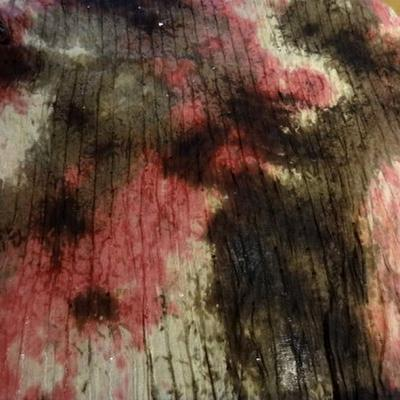 Maille resille coton marbre rose a sequins 1