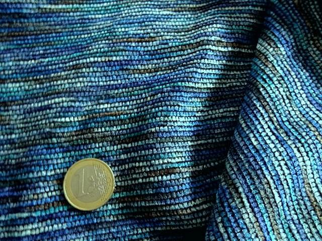 Maille velours chenille camaieu de bleus 2