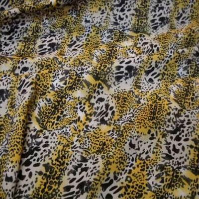 Microfibre motif leopard safran noir blanc 1