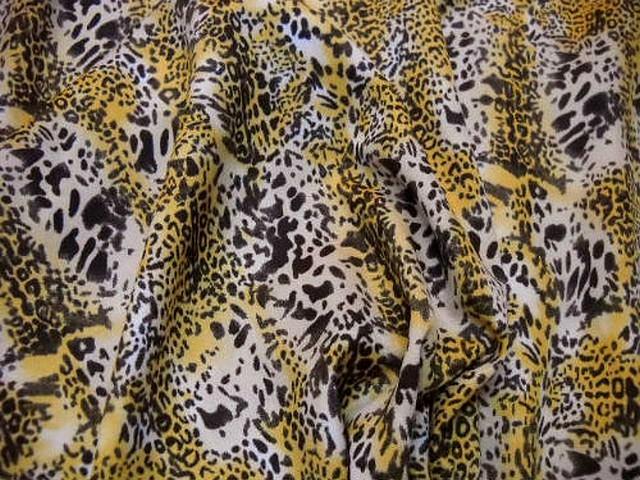 Microfibre motif leopard safran noir blanc 2