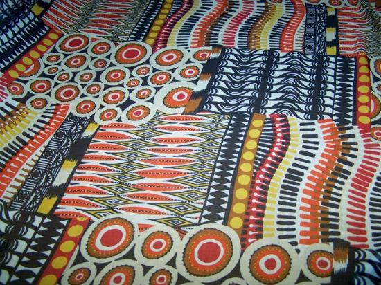 Mousseline crepon patchwork ethnique bleu marine rouge 2