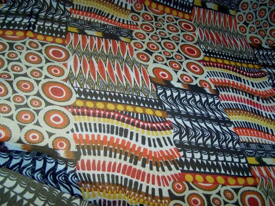 Mousseline crepon patchwork ethnique bleu marine rouge 1