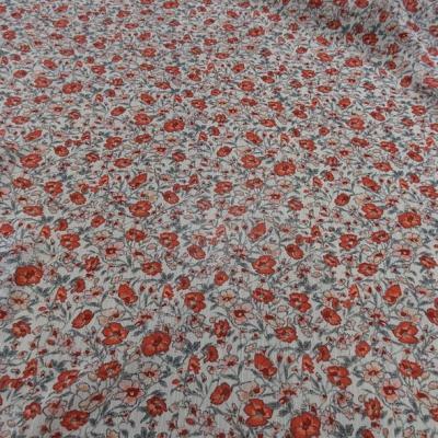 Mousseline creponnee fond blanc fleurs liberty rouge et vert de gris 3