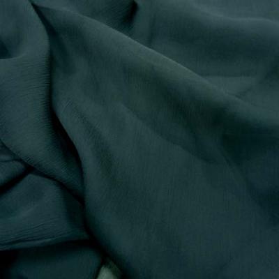 Mousseline de soie crepon bleu petrole 4