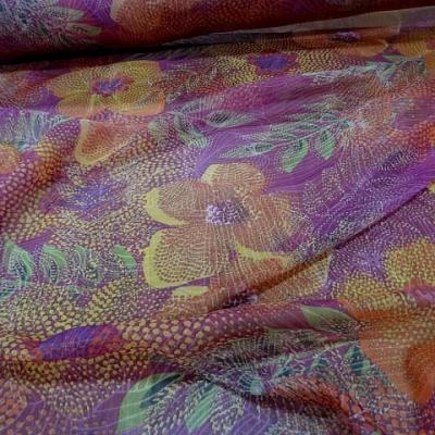Mousseline de soie framboise fleur pointillisme 2
