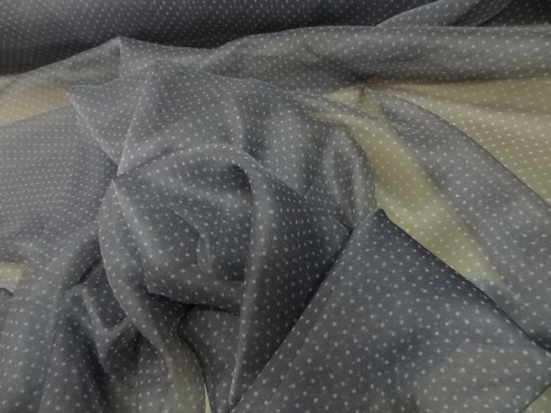 Mousseline de soie gris etain a petits pois 1
