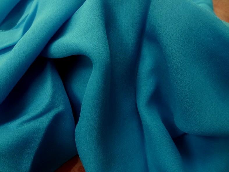 Mousseline de soie lisse bleu vert 2