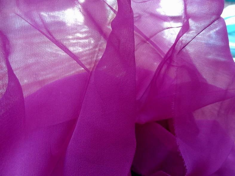 Mousseline de soie lisse fuchsia violace 3