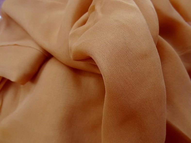 Mousseline de soie lisse orange brulee 2