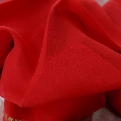 Mousseline de soie lisse rouge coquelicot 2
