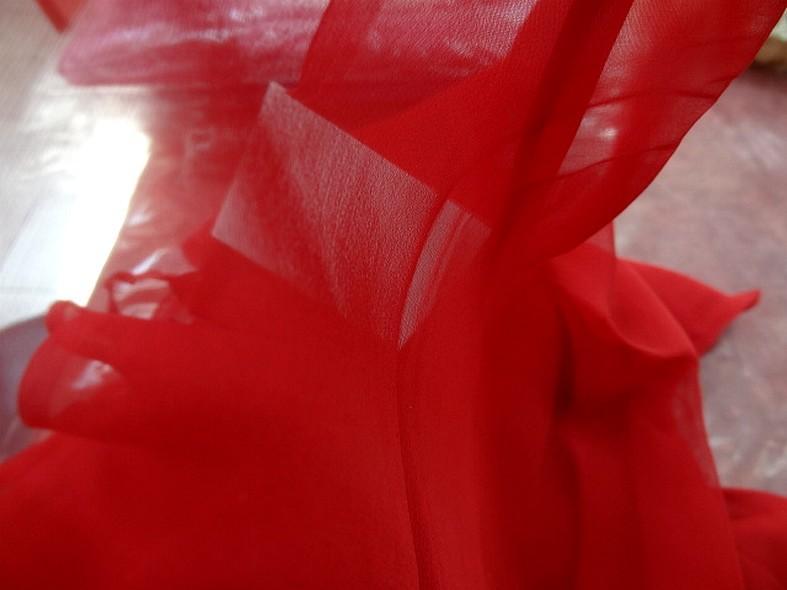 Mousseline de soie lisse rouge coquelicot 3