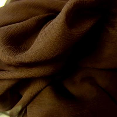 Mousseline de soie marron cacao 1