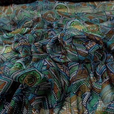 Mousseline de soie motif ethnique bleu vert 3