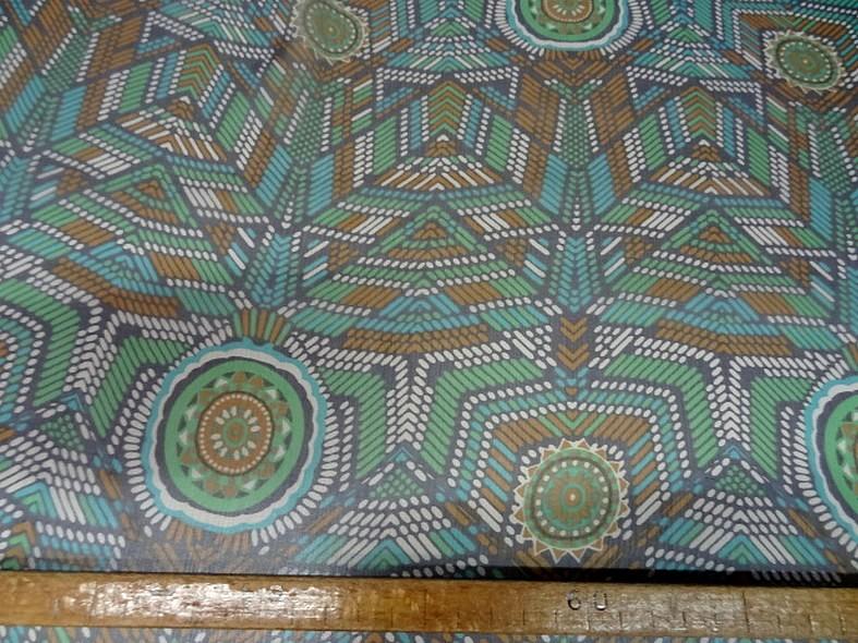 Mousseline de soie motif ethnique bleu vert 6