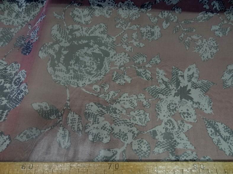 Mousseline de soie prune fleurie 1