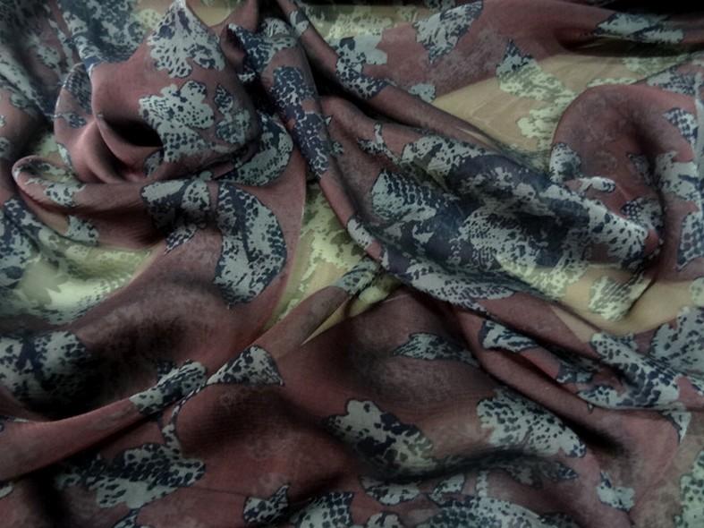 Mousseline de soie prune fleurie 5