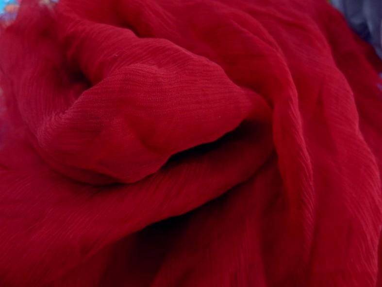 Mousseline de soie rouge groseille