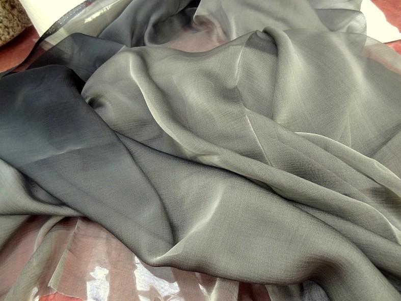 Mousseline de soie tie and dye gris noir 2
