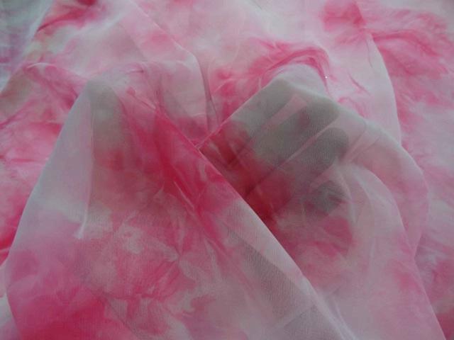 Mousseline imprime ton rose
